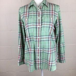 lauren ralph lauren plaid flannel green pink m